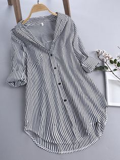 Chic Stripe Long Sleeve Turn-down Collar Loose Shirts Blouse - Banggood Mobile Striped Long Sleeve Shirt, Long Sleeve Shirts, Oversized White Shirt, Loose Shirts, Mode Hijab, Chic Outfits, Blouse Designs, Womens Fashion, Latest Fashion