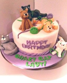 Crazy Cat Lady Birthday Cake Cats Witches Cakes Pinterest