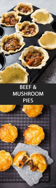 Beef & Mushroom Pies -  {NEW RECIPE} Mini Beef & Mushroom Pies look tricky to make but are easy to prepare. It does take long to prepare but the end result is worth it. #foodiemadness