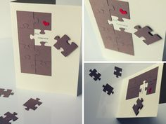Kartka walentynkowa puzzle. Walentynki, rocznica ślubu, Scrap Cardmaking St. Valentine's Day You complete me. Brakujący kawałek Papier eco