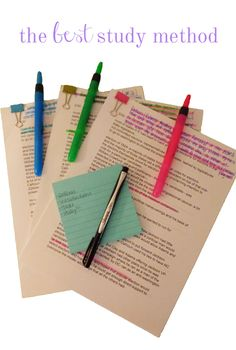 The Best Study Method: For Essay Exams - I will check this out later - they had me at post it's and highlighters