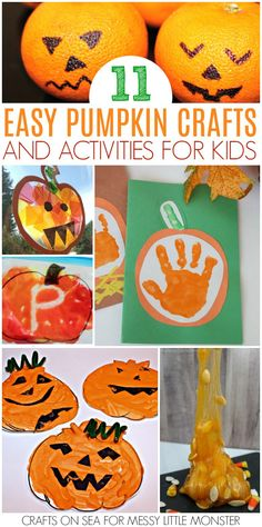 Pumpkin crafts for kids and a few pumpkin activities too! Lots of pumpkin activities for preschoolers to enjoy this Autumn Pumpkin crafts for kids and a few pumpkin activities too! Lots of pumpkin activities for preschoolers to enjoy this Autumn Pumpkin Crafts Kids, Easy Fall Crafts, Thanksgiving Crafts For Kids, Fun Arts And Crafts, Scary Halloween Crafts, Halloween Crafts For Toddlers, Crafts For Kids To Make, Halloween Activities For Preschoolers, Preschool Halloween