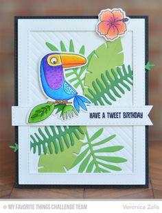 Tweet BIrthday Card by Veronica Zalis featuring the Birdie Brown Polynesian Paradise stamp set and DIe-namics, the Birds of Paradise stamp set and DIe-namics, and the WIld Greenery DIe-namics #mftstamps