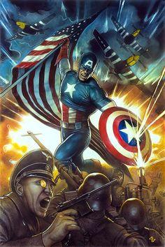 Captain America Variant - Adi Granov, in Chris Nordeen's Published art Comic Art Gallery Room Marvel Comics Art, Marvel Heroes, Marvel Characters, Punisher Marvel, Marvel Avengers, Captain America Pictures, Captain America Art, Univers Marvel, Comic Anime
