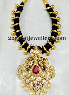 Jewellery Designs: Black Beads Choker with Pachi Locket