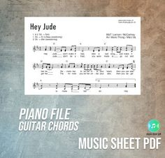"""Hey Jude - The Beatles Music Sheet Piano Guitar Chords PDF File """"Hey Jude"""" is a song by the English rock band the Beatles that was rel. Don't Let Me Down, Let It Out, Saddest Songs, Greatest Songs, Guitar Chords Pdf, Who Plays It, Number One Hits, Hey Jude, Dont You Know"""