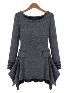 Dark Grey Long Sleeve Ruffles Pockets Dress (I want to remake the way too tight t-shirt dress into this.)