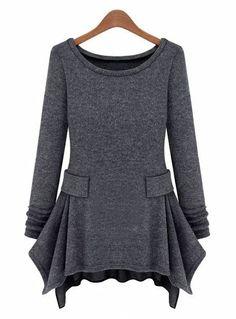 Dark Grey Long Sleeve Ruffles Pockets Dress US$20.90