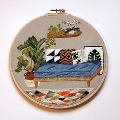 Journée broderies. La série des salons. Le canapé bleu,  22 cm,  30 € ftp compris.   #broderie #plantes #embroidery #green #faitmain #embroidery