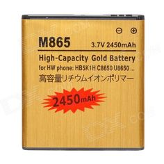 Brand: N/A; Model: M865-GD; Quantity: 1 Piece; Color: Golden; Material: Plastic housing; Compatible Models: Huawei C8650 / U8650 / HB5K1H / MB65 - Golden; Battery Type: Li-ion battery; Nominal Capacity: 2450 mAh; Battery Actual Capacity : 1000 mAh; Capacity Range: 2001mAh~3000mAh; Packing List: 1 x Battery; http://j.mp/1touwl8