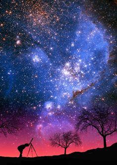 Milky Way, stars, sky, night, telescope, trees, silhouette