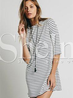 f6e6c55907c White Black Half Sleeve Striped Dress 13.33 Black White Striped Dress