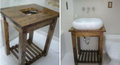 """The $50 Ikea Hack Bathroom Sink - maybe in """"aged Oak"""" to match the storage tower?"""