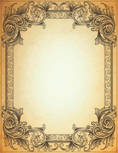 Designed by a hand engraver. Old parchment page with copy space. All elements on separate layers for easy changes. Includes EPS, AI, and hi-res JPG. Vintage Picture Frames, Vintage Frames, Vintage Pictures, Vintage Prints, Old Paper, Vintage Paper, Molduras Vintage, Etiquette Vintage, Vintage Borders