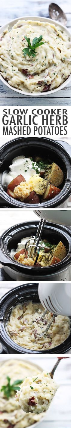 Slow Cooker Buttery Garlic Herb Mashed Potatoes | #Buttery #Cooker #Garlic #Herb #Mashed #Potatoes #Slow