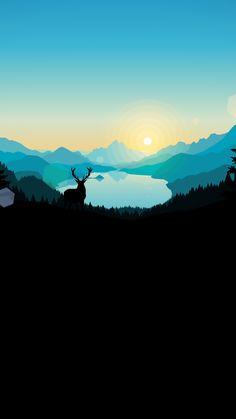 Deer On Sunrise 1440x2560 Wallpaper, Phone Screen Wallpaper, Tumblr Wallpaper, Nature Wallpaper, Black Wallpaper, Wallpaper Backgrounds, Watercolor Wallpaper Iphone, Landscape Wallpaper, Landscape Concept