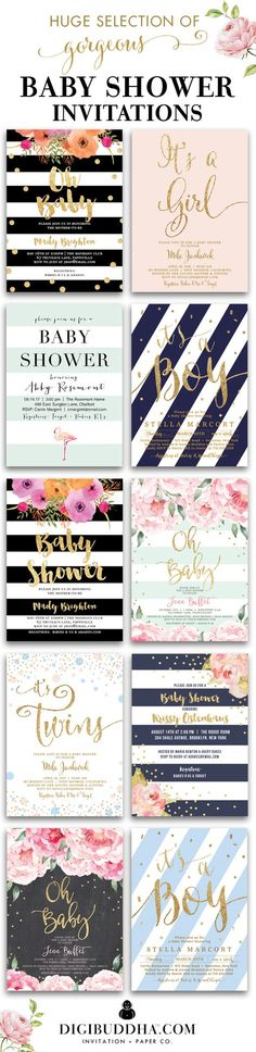 Huge selection of original trend-setting baby shower invitations for a girl baby shower or boy baby shower or twin baby shower in styles ranging from modern to classic to elegant, glam, rustic and even boho chic. In any color and just about any fonts you can imagine. Plus add matching envelope liners, address labels and coordinating color envelopes to complete the look. Wow your guests with beautiful invitations. Celebrate Life, Love & Babies with Digibuddha Invitation + Paper Co.