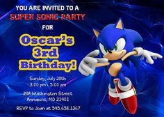Sonic Birthday Party Invitation  Printable by FabulousInvitation, $7.99