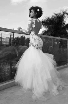 Amazing Wedding Dresses-LOVE This Wedding Dress!!!! Glamorous Wedding Dresses, Dream Wedding Dresses, Prom Dresses, Wedding Lace, Backless Wedding, Fancy Wedding Dresses, Mermaid Dresses, Long Sleeve Mermaid Dress, Mermaid Wedding Dress With Sleeves