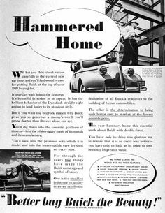 1939 Buick vintage ad. Photographed in black & white with lower inset illustration. Features Mr. William Knudsen, President of GM riveting the cornerstone beam at the GM display for the 1939 World's Fair in New York.