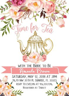 Tea party bridal shower invitations - Time for Tea with the Bride to Be, Tea party Bridal Shower invitation, Bridal Shower invitation, Watercolor Floral invite DIGITAL FILE 1829 – Tea party bridal shower invitations Rustic Bridal Shower Invitations, Tea Party Invitations, Unique Bridal Shower, Invitation Birthday, Kitchen Tea Invitations, Tea Party Decorations, Bridal Shower Decorations, Shower Centerpieces, Centrepieces