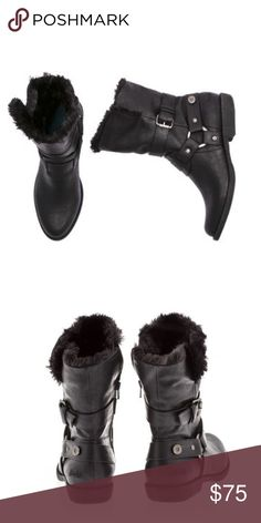 Fur Mid Calf Boots Mid calf bootie with chunky metal ornament detailing and wrap with buckle at ankle with fold down faux fur cuff. Inside zip. Zip-closure along the instep. Almond toe. Logo hit at heel. Cushioned footbed. Stacked heel. Black Blowfish Shoes Winter & Rain Boots