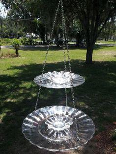 Handmade Double Hanging Glass Birdbath / Bird Feeder by SassyFlair, $55.00