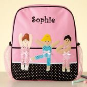 Personalized backpack- perfect for dance class and playing school :)      This Ballerina backpack features dancers in 3-dimensional tutus. The perfect way for her to carry her shoes and dance clothes to class! This backpack is great for day trips or overnights at Grandma's too. Hand wash. We personalize them with any name, up to 9 characters. Measures 4 L x 11 W x 13 H.
