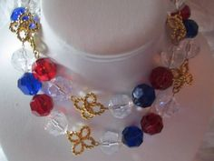 VINTAGE TRIFARI NECKLACE CHUNKY PATRIOTIC RED WHITE BLUE BEADED NECKLACE BOWS