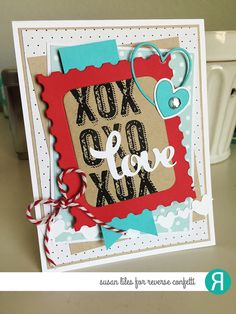 Card by Susan Liles. Reverse Confetti stamp set: Big Notes. Confetti Cuts: Lovey Word Coordinates, Stamped Note and Double Heart Garland. Valentine's Day Card. Anniversary card.