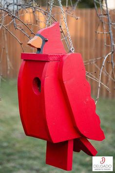 Cardinal Bird House, Birdhouse, Solid Wood (Made to Order) - This is a handmade quality birdhouse that is made to look like a Cardinal. It is solid wood and fe - Wooden Bird Houses, Bird Houses Painted, Bird Houses Diy, Cardinal Bird House, Cardinal Birds, Bird House Plans, Diy Bird Feeder, Wood Bird, Bird Boxes