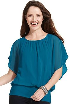 c2b1dc17e2a951 Plus Size Flutter-Sleeve Banded-Hem Top (3X, Industrial Blue) at Amazon  Women's Clothing store: