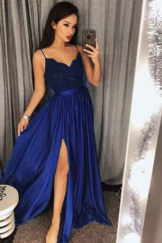 44100fa739 Sexy Lace Blue  Green V-Neck Bodice Prom Dress Evening Dres Slit Side  PL340. Long Party DressesBaby Blue Prom DressesRoyal Blue Bridesmaid ...