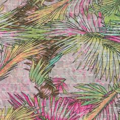 Simply Silky Prints- Tropical Leaves Pink