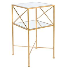 Worlds Away Henri Gold Square Side Table