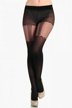 LoveMelrose.com From Harry & Molly | Garterbelt Look Stocking - Black
