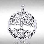Mickie Mueller Wiccan Tree of Life Silver Pendant TPD1043