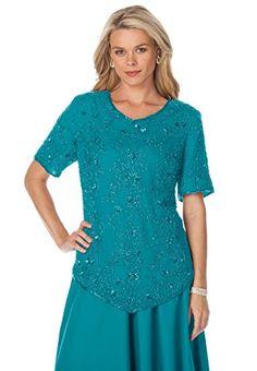 b8d09356fb0d9 Roamans Women s Plus Size Sequin Beaded Top (Paradise Turq