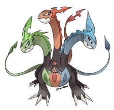 A very unique (and controversial) concept for a Legendary Pokemon with three types! Hydrament Grass /  Fire / Water Source. Artist: KipinWolf