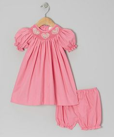 Take a look at this Pink Heart Bishop Dress & Bloomers - Infant by Petit Ami on #zulily today!