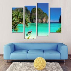 Cheap print on canvas, Buy Quality landscape painting directly from China 4 piece Suppliers: 4 Pieces Green Island Landscape Painting Green Sea and Mountain Print On Canvas Wall Art for Home Decor Artworks Wooden Framed