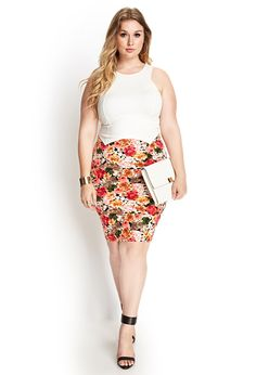 This skirt is life!! Floral Knee-Length Skirt   FOREVER21 #F21Plus
