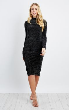 Black Silver Side Ruched Midi Dress - SilkFred