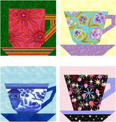 Tea and Coffee Cups Free Paper Piecing Quilt Block Pattern. Love these patterns individually as well. Mug Rug, potholder, placemat, trivet- a rose by any other name. Paper Pieced Quilt Patterns, Quilt Block Patterns, Pattern Blocks, Quilt Blocks, Paper Patterns, Small Quilts, Mini Quilts, Scrappy Quilts, Quilting Projects