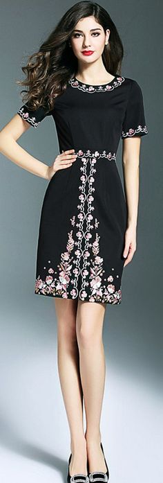 Black Floral Embroidered Slit Dress