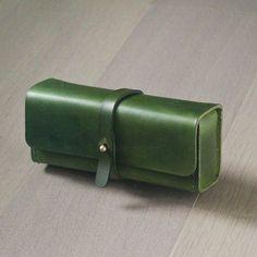 Green vegetable cow hide leather Pencil Case/Pen Pouch/ Sunglasses Case
