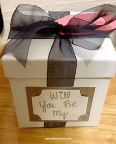 """Place the 'Will you be my..."""" on the outside of your bridesmaid or Maid of Honor box and that way the question is still pending and creates that nice suspense until they open the box!"""