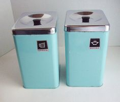 Vintage Turquoise Enamelware Canisters Flour Sugar by NanNasThings, $65.00