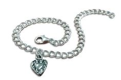 Simple and Sweet with Heart Charm Sterling Silver Bracelet