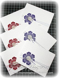~~Heart's Delight Cards~~: Muchas Gracias!...quick and easy notecards with a large flower punch, a button and some bakers's string...